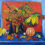 Still life with autumn leaves.