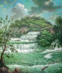 Landscape with a waterfall.