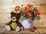 A teddy bear and marigolds.