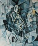 The woman at the floor lamp. Cubo-futurism