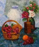 Still Life with Fruit Basket and Roses