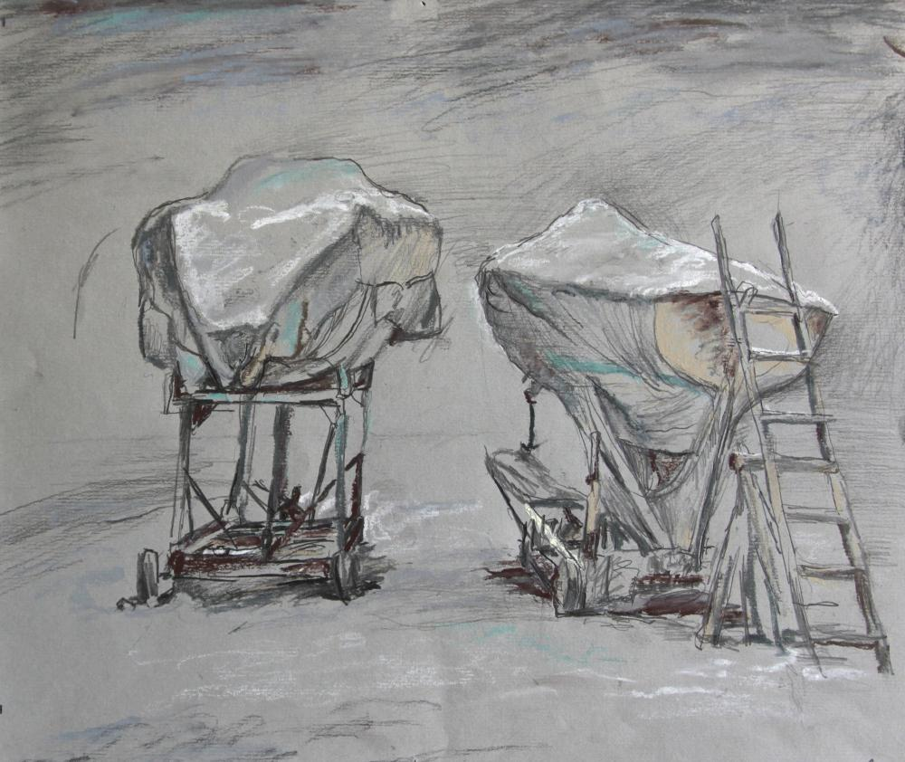 Stroganov Leonid. Sailboats high and dry on shore