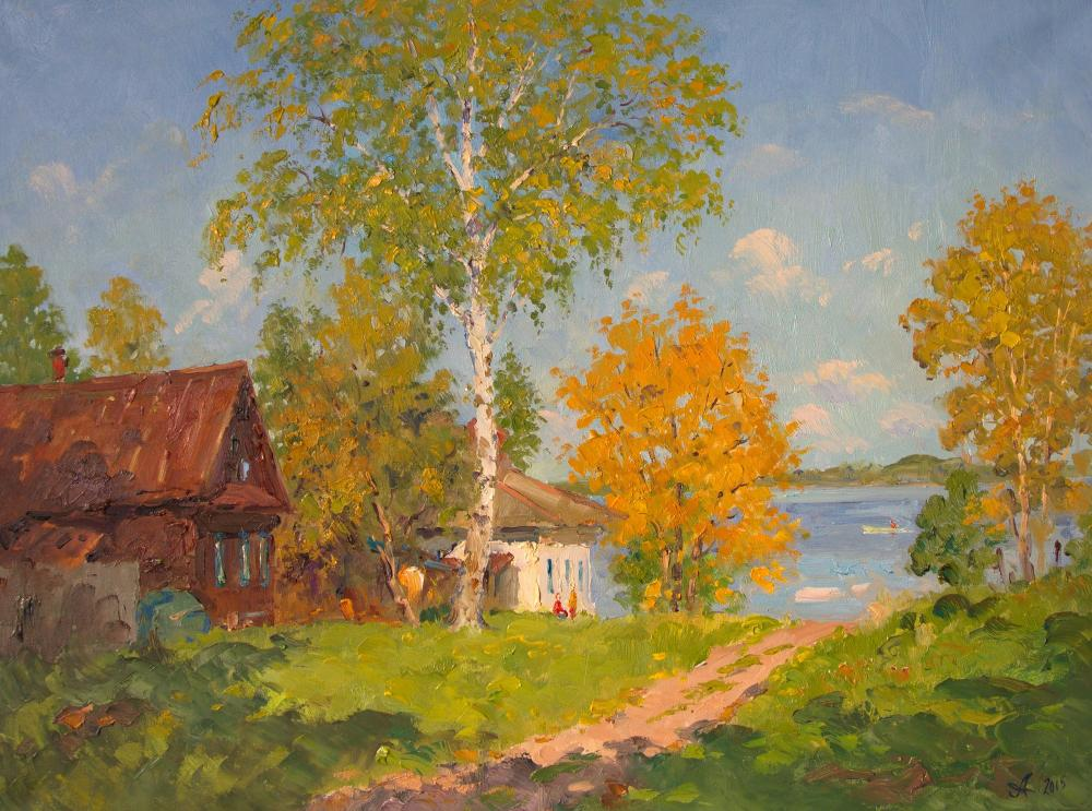 Alexandrovsky Alexander. Path to the lake. Summer day in village