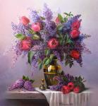Lilac and tulips.