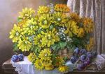 Basket with yellow flowers.