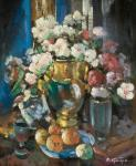 Still life with peony flowers in decanter