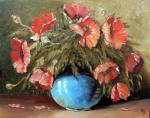poppies in the blue vase