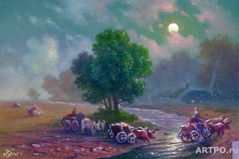Kulagin Oleg. Village night.