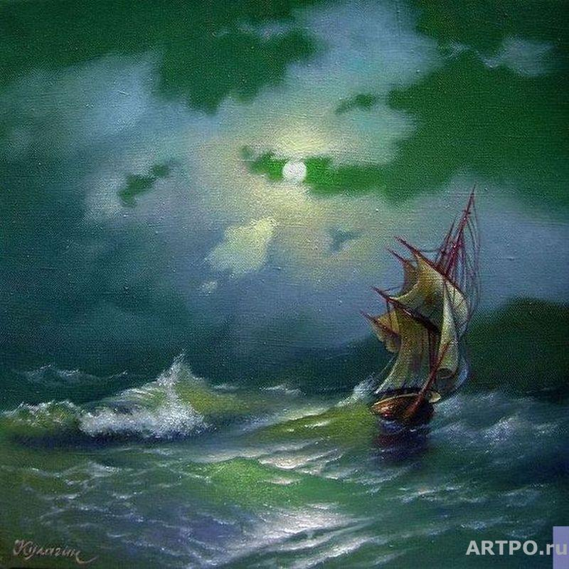 Kulagin Oleg. The ship in the moonlit night.