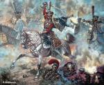 Attack of the Russian hussars in the battle of Borodino.