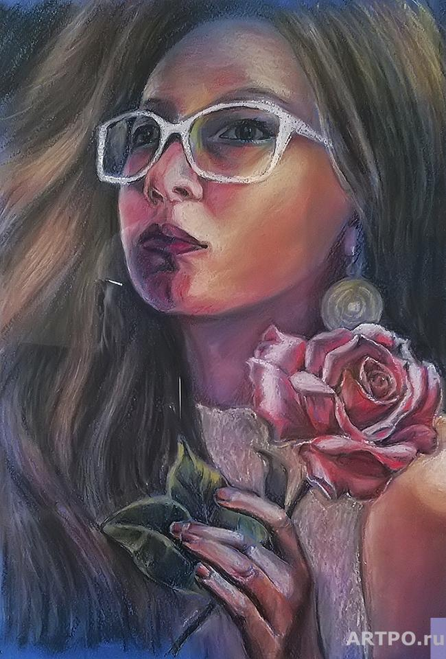 Diordiew Nikolaj. Girl with a rose