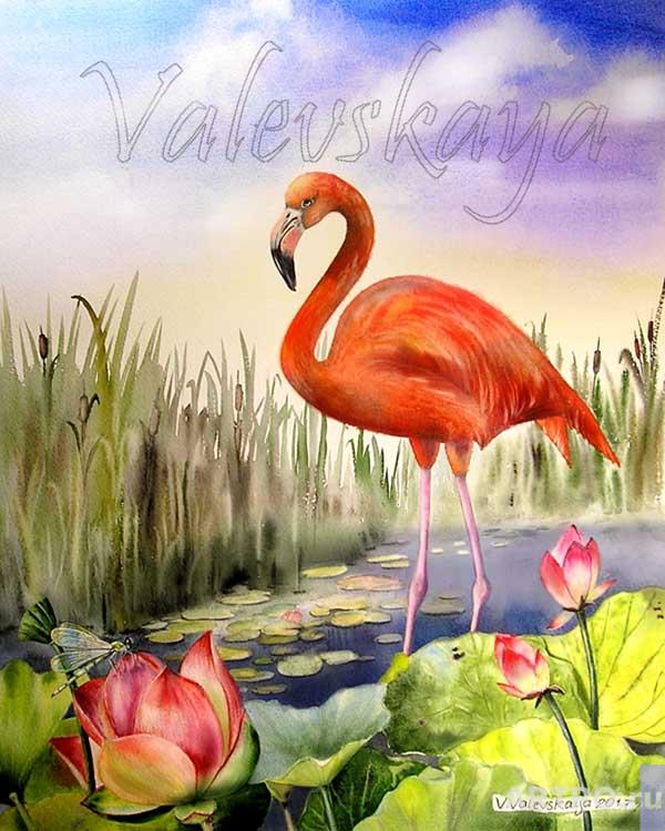 Valevskaya Valentina. Red flamingo