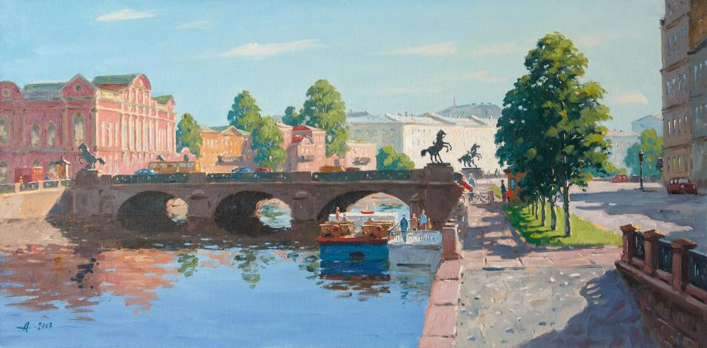 Alexandrovsky Alexander. Anichkov Bridge. Saint Petersburg. Summer day