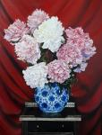 A bouquet of peonies in the Chinese vase