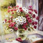 Bouquet of daisies on the window