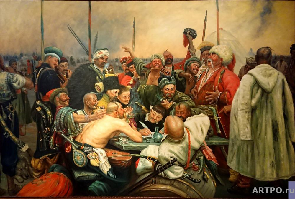 Minaev Sergey. Zaporozhets write a letter to the Turkish sultan. copy of I. Repin