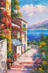 Flower-filled patio. Sea view