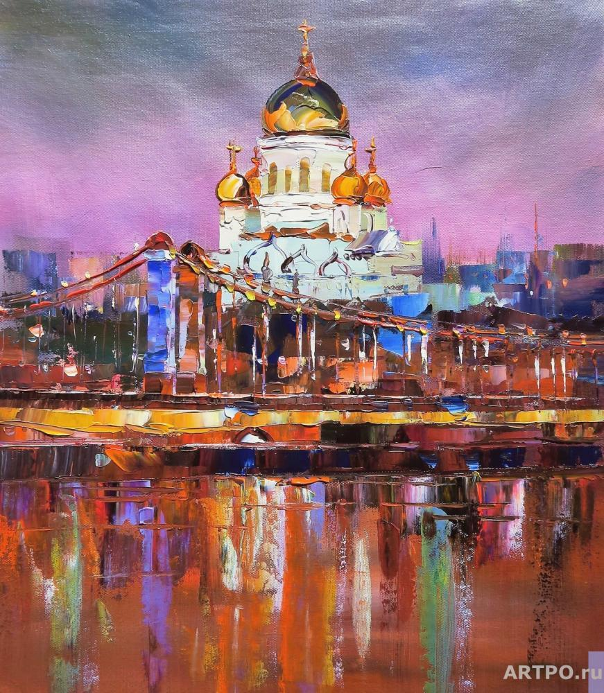 Rodriguez José. View of the Cathedral of Christ the Saviour. Sunset