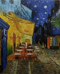 Copy of a picture of Van Gogh. A terrace of night cafe Pleis du Forum in Arles.