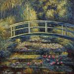 A copy of a Monet painting. Bridge by the pond with water lilies