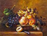 Copy of the painting by Adriana-Johanna Haanen. Still life with fruit in a basket and a knife