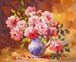 Bouquet of roses in a jug