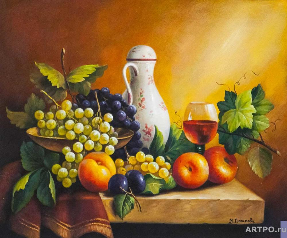 Potapova Maria. Still life with grapes, apples and plum