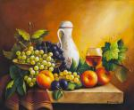 Still life with grapes, apples and plum