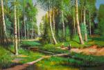 Copy of Ivan Shishkin's painting. Stream in the birch forest