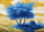 Landscape with blue tree.