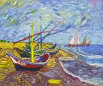 Fishing boats on the beach in Saint-Mary (copy of the painting by Van Gogh)
