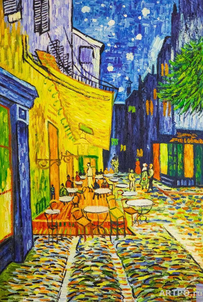 Vlodarchyk Andjey. A copy of Van Gogh's painting. The terrace of the night cafe Place du Forum in Arles