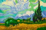 Copy of the painting of van Gogh's. Wheat field with cypresses, 1889