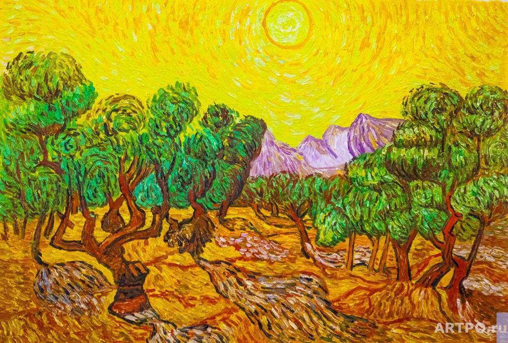 Vlodarchyk Andjey. A copy of Van Gogh's painting. Olive trees with a yellow sky and the sun , 1889