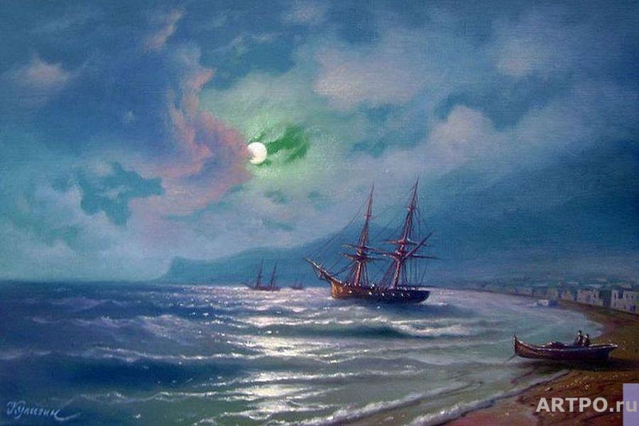 Kulagin Oleg. The sea shore on a moonlit night.