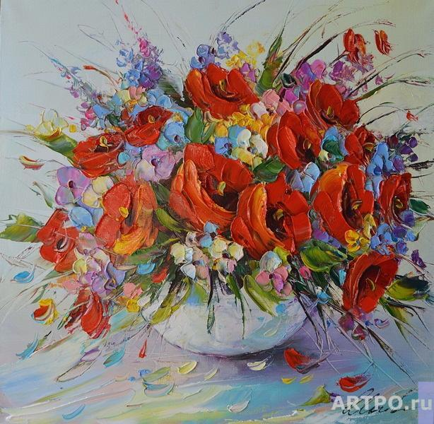 Moiseyeva Liana. Bouquet of poppies