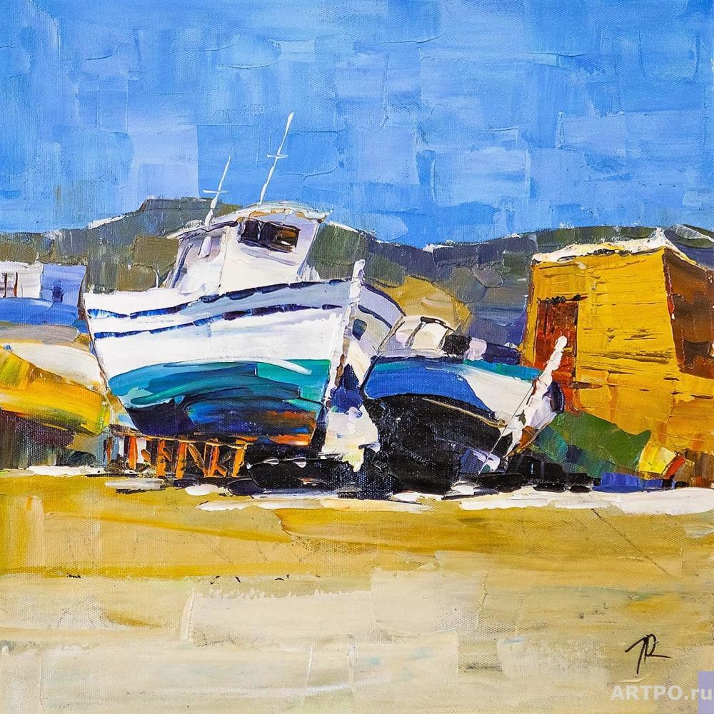 Rodriguez José. Hot afternoon. Boats on the coast