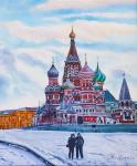 Moscow. In the winter on Vasilyevsky descent