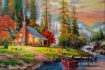 A copy of the picture of Thomas Kinkade. Peaceful Refuge
