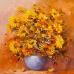 Bouquet of yellow asters on the table