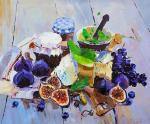 Still Life with Figs, Cheese and Grapes