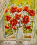 Bouquet of poppies in a white jug