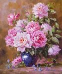 Bouquet of garden roses in a blue vase