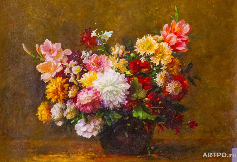 Kamskij Savelij. Still Life with Asters and Gladiolus