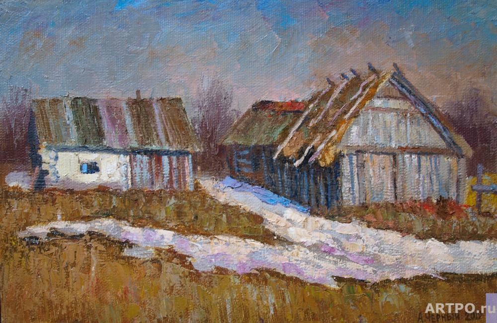 Chernyy Alexandr. A shed with a thatched roof.Hurriyat.