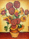 A copi of the painting of Vincent Van Goghs Sunflowers