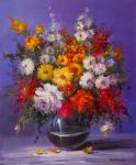 A bouquet of roses and garden asters in a vase