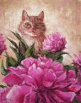 Cat with peonies
