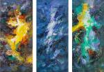 Three elements. Fire, water, earth. Triptych