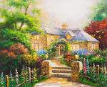 A copy of Thomas Kinkade's painting. The House in the Mallows